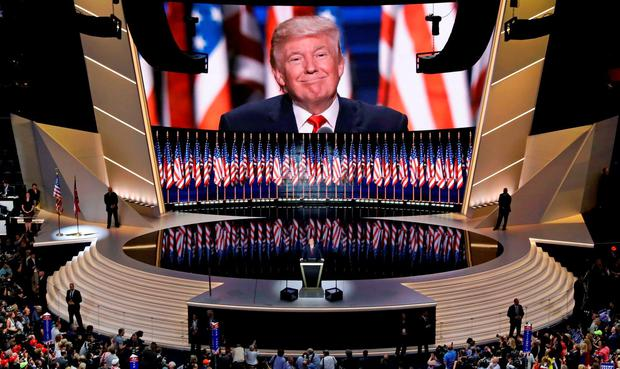 Republican presidential candidate Donald Trump smiles as he addresses delegates during the final day session of the Republican National Convention in Cleveland, Thursday, July 21, 2016. (AP Photo/Patrick Semansky)
