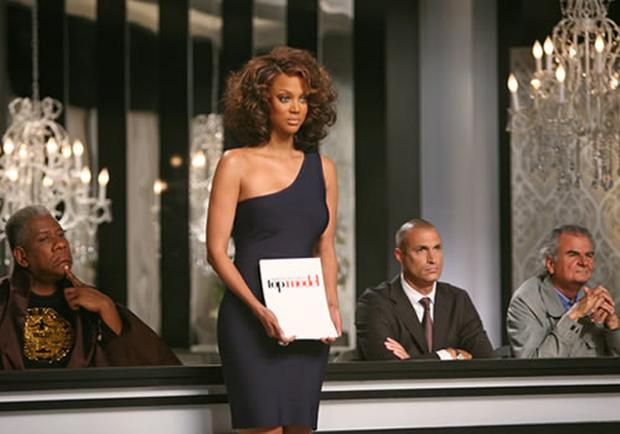 Tyra Banks as judge on America's Next Top Model.
