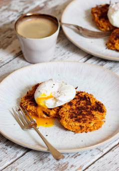 Indy Power's Sweet potato fritters and eggs