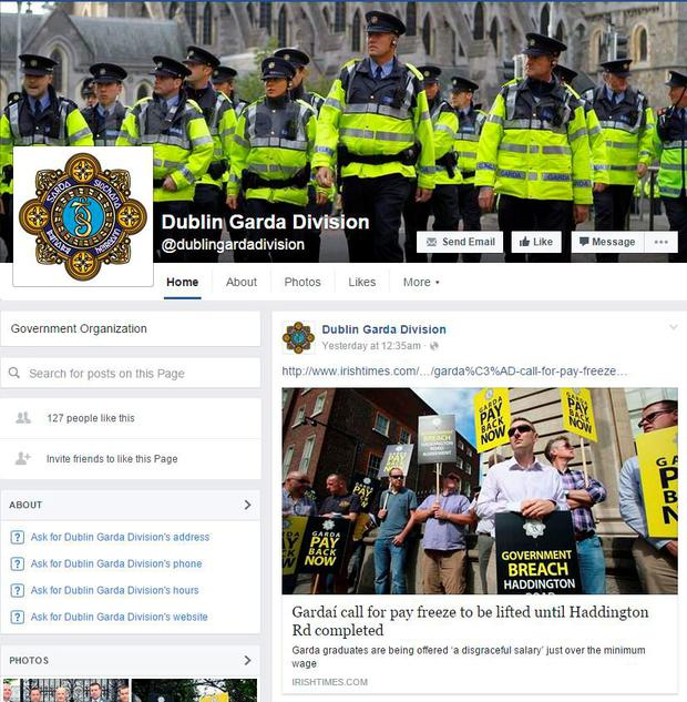 A screenshot of the Facebook page