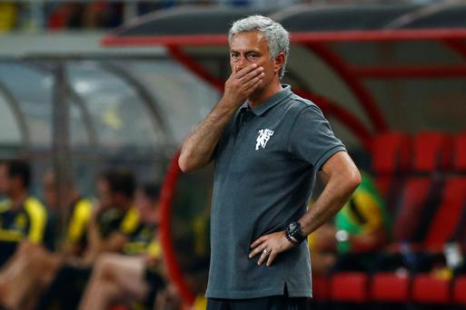 Manchester United manager Jose Mourinho looks dejected Action Images via Reuters / Thomas Peter