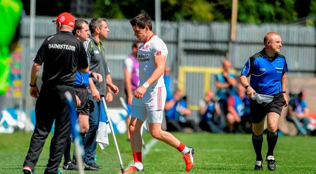 Mattie Donnelly of Tyrone comes off the field after getting a first half black card during the Ulster GAA Football Senior Championship Final match against Donegal last week. Photo by Oliver McVeigh/Sportsfile