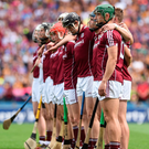 The Galway players line up before the Leinster final against Kilkenny. Photo: Sportsfile