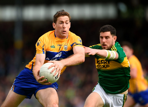 Gary Brennan, seen here in action against Kerry's Michael Geaney in this year's Munster football semi-final, should be an All Star at this stage of his career according to the legendary Waterville maestro Mick O'Dwyer. Photo by Diarmuid Greene/Sportsfile
