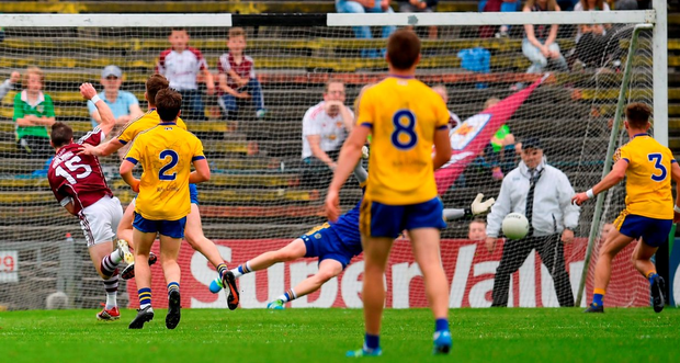 Despite five Roscommon players being in the picture, Galway corner-forward Danny Cummins gets through to rifle home his side's first goal in the Connacht SFC final replay last Sunday. Photo by Stephen McCarthy/Sportsfile