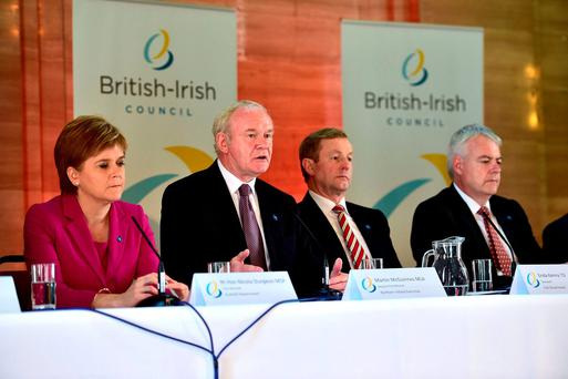 Scotland's First Minister Nicola Sturgeon, Taoiseach Enda Kenny and Wales First Minister Carwyn Jones, listen as Northern Ireland Deputy First Minister Martin McGuinness speaks during a press conference at an emergency meeting of the British Irish Council in Cardiff. Photo: Ben Birchall/PA Wire