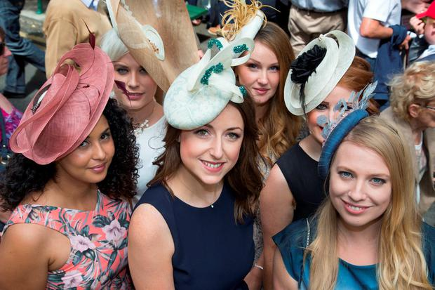 Hat designer Julie Campbell (centre) with her friends Sharifa al Abri (left), Lynn Brien, Nicola Potts, Ciara Coleman and Sinead Phipps. Photo: Colin O'Riordan