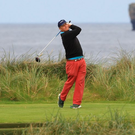 Arthur Pierse drives off the fourth tee on his way to victory at the South of Ireland Championship at Lahinch Photo: Golffile / Thos Caffrey
