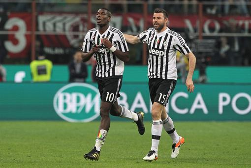 Paul Pogba celebrates a goal for Juventus
