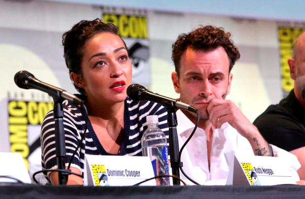 Actors Ruth Negga (L) and Joseph Gilgun attend AMC's 'Preacher' panel during Comic-Con International 2016 at San Diego Convention Center on July 22, 2016 in San Diego, California. (Photo by Jesse Grant/Getty Images for AMC)