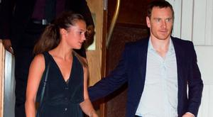 Actors Michael Fassbender and Alicia Vikander are seen leaving dinner at Nobu in Tribeca in New York. Picture: Splash News