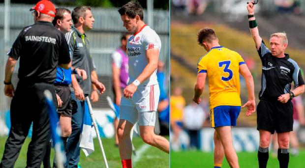 Mattie Donelly of Tyrone and Roscommon's Sean Mullooly receive black cards