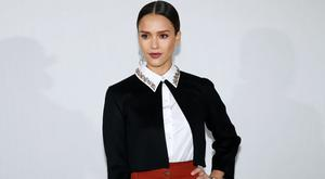 US actress Jessica Alba poses before the Christian Dior fashion show during the 2016-2017 fall/winter ready-to-wear collection