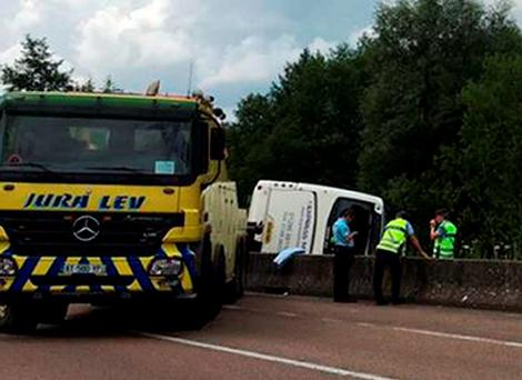 The scene of the accident on the A39 motorway at Lons-le-Saunier where a coach reportedly carrying a group of teenagers crashed. Photo: @paulette59553/PA Wire