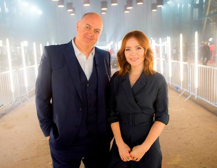 Dara O Briain and Angela Scanlon on the new set of Robot Wars, who have insisted they will put their own stamp on the rebooted BBC series. Photo: Alan Peebles/BBC/Mentorn Media Scotland/PA Wire