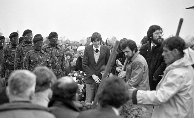 Gerry Adams at the graveside of hunger striker Bobby Sands in 1981
