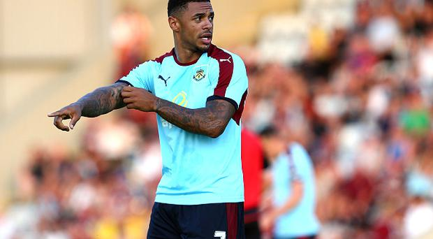 MORECAMBE, ENGLAND - JULY 19: Andre Gray of Burnley looks on during the pre season friendly match between Morecambe and Burnley at Globe Arena on July 19, 2016 in Morecambe, England. (Photo by Jan Kruger/Getty Images)