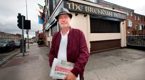Cheers: Liam Collins outside the Brendan Behan, formerly the Sunset House pub in Summerhill. Photo: Tony Gavin