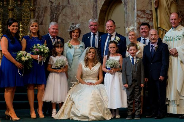 Hitched: Gda Rogers was best man (centre behind bride) at Dermot Ryan and Sinead Leydon's wedding. Photo: Doug.ie