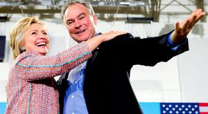 Running mate: Democratic presidential candidate Hillary Clinton and her newly appointed vice president, Senator Tim Kaine. Photo: Andrew Harnik/AP
