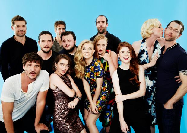 Kit Harington, Nikolaj Coster-Waldau, Maisie Williams, David Benioff, Natalie Dormer, Sophie Turner, D. B. Weiss, Gwendoline Christie, Rory McCann, Rose Leslie, Pedro Pascal, and John Bradley-West from the cast 'Game of Thrones' pose for a portrait at the TV Guide portrait studio at San Diego Comic Con for TV Guide Magazine