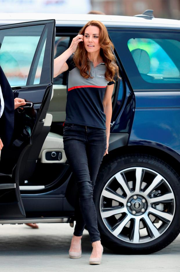 Catherine, Duchess of Cambridge visits the Land Rover BAR at the America's Cup World Series on July 24, 2016 in Portsmouth, England. (Photo by Chris Jackson/Getty Images)