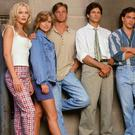 Amy Locane-Bovenizer, far left, with the Melrose Place cast