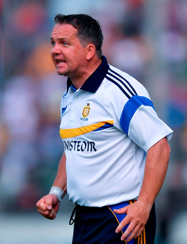 Clare manager Davy Fitzgerald reacts during the GAA Hurling All-Ireland Senior Championship quarter final match between Clare and Galway at Semple Stadium