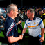 Clare manager Davy Fitzgerald congratulates Galway's Míchéal Donoghue
