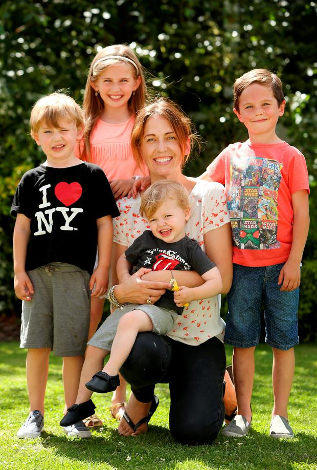 Niamh Bracken with her kids (l-r) Finlay, India, Grayson and Cooper. Photo: Gerry Mooney