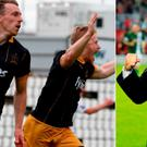 David McMillan of Dundalk, left, celebrates and (right) Cork boss John Caulfield