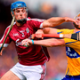 Clare's Colm Galvin and Johnny Coen of Galway get to grips with each other. Photo: Stephen McCarthy/Sportsfile