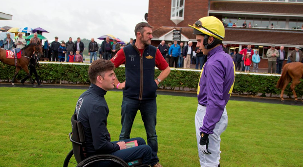 Robbie McNamara, pictured talking to jockey Conor Brassil after Chadic's victory in the Mallow Maiden Hurdle, will be hoping for more success at Ballybrit this evening. Photo: Patrick McCann