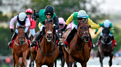 Modem and Kate Harrington (left) get the better of third-placed Ted Veale and Steven Clements in last year's Day 1 feature, the Connacht Hotel (Q.R.) Handicap – Harrington rides Weather Watch in this evening's contest while Clements renews his partnership with Ted Veale. Photo: Cody Glenn/ Sportsfile