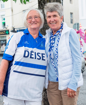 Waterford hurling fans Maura Roche and Noeleen Grant in Thurles for the All Ireland Quarter-Finals Photo: Don Moloney/Press 22