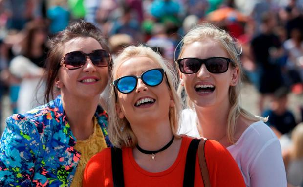 Spectators Eugena Loughlin, Eilish Murtagh and Rachel Hughes from Armagh, who enjoyed the show Photo: Gareth Chaney, Collins