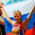 Russia's Darya Klishina celebrating after she won the women's Long Jump final at the 2013 European Indoors. Photo: AFP/Getty