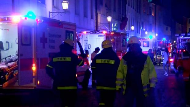 Emergency workers and vehicles are seen following an explosion in Ansbach, near Nuremberg July 25, 2016, in this still image taken from video. Courtesy News5/via Reuters