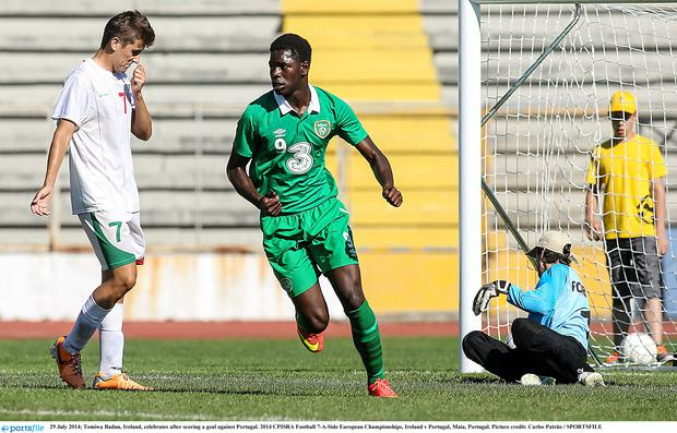 Tomiwa Badun, Ireland, celebrates after scoring a goal against Portugal
