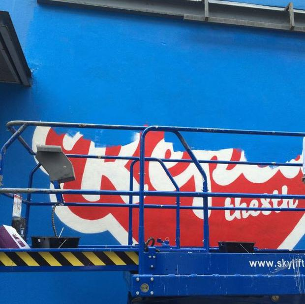The 'Repeal the 8th' mural was removed on Monday. Photo: Pro Life Campaign