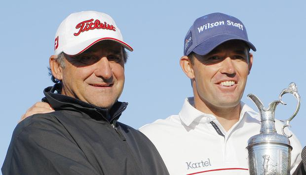 Padraig Harrington with Bob Rotella after winning the British Open at Royal Birkdale in 2008. Picture Credit: Adrian Dennis/AFP/Getty Images