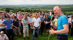 Host farmer Conor Creedon addressing the Irish Grassland dairy summer tour on his farm at Shrone, Rathmore, Co Kerry. Photo: Donal O'Leary