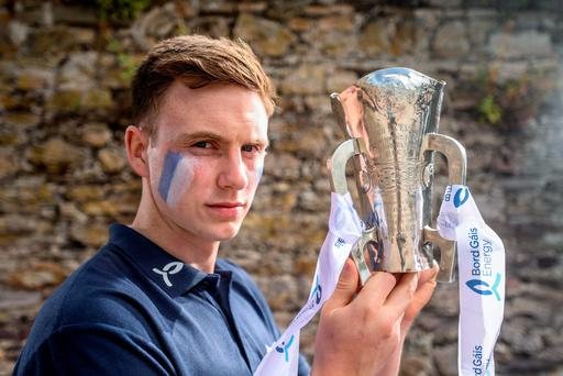 Waterford's Austin Gleeson with the Munster U-21 hurling trophy ahead of tomorrow evening's final against Tipperary. Picture Credit: Stephen McCarthy/Sportsfile