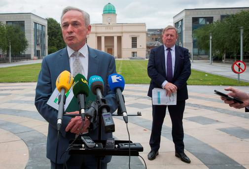 Education Minister Richard Bruton and Sean McMahon, deputy chair of the Teaching Council, at a media briefing at the Department of Education and Skills yesterday. Photo: Gareth Chaney