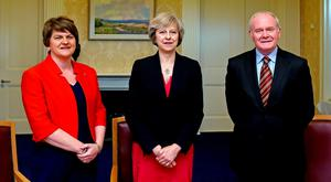 British Prime Minister Theresa May with Northern Ireland First Minister Arlene Foster and Deputy First Minister Martin McGuinness at Stormont Castle in Belfast. Photo: Reuters