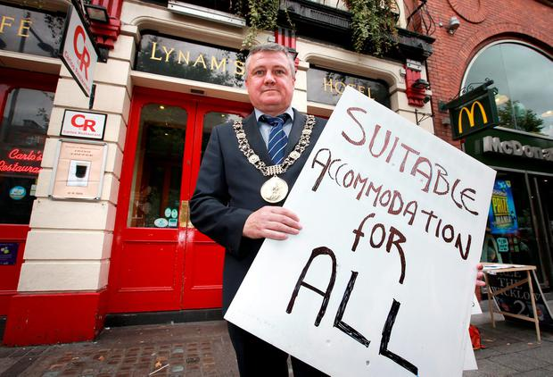 Dublin's Lord Mayor Brendan Carr during the protest. Photo: Frank McGrath