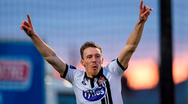 David McMillan will be hoping to add to his tally of European goals when he pits his wits against BATE Borisov tonight. Photo: Paul Mohan / SPORTSFILE