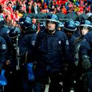 Police inside the ground before the UEFA Europa League Final at St. Jakob-Park, Basel