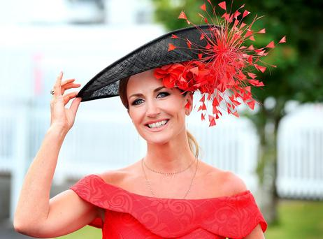 Lorraine Keane shows off her style at the Galway Race meeting in Ballybrit, Co Galway. Photo: Steve Humphreys