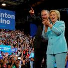 U.S. Democratic presidential candidate Hillary Clinton and Democratic vice presidential candidate Senator Tim Kaine. Photo: Reuters